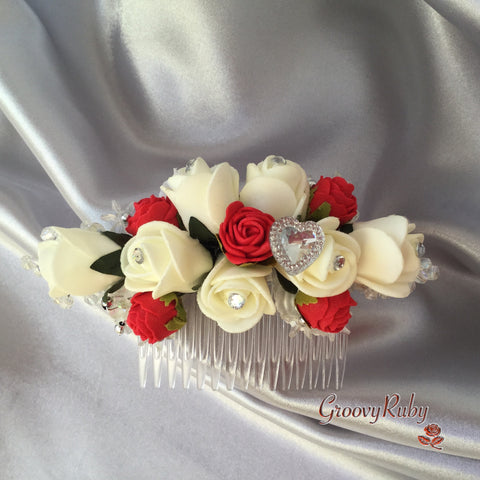 Red & Ivory Heart Hair Comb