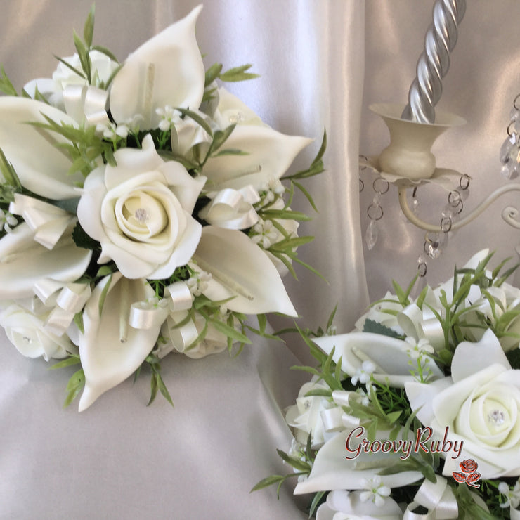 Ivory Rose & Large Calla Lily, Added Ivory Ribbon Loops