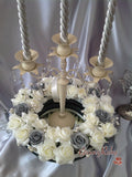 Silver & Ivory With Pearl Sprays, Candle/Candelabra Rings