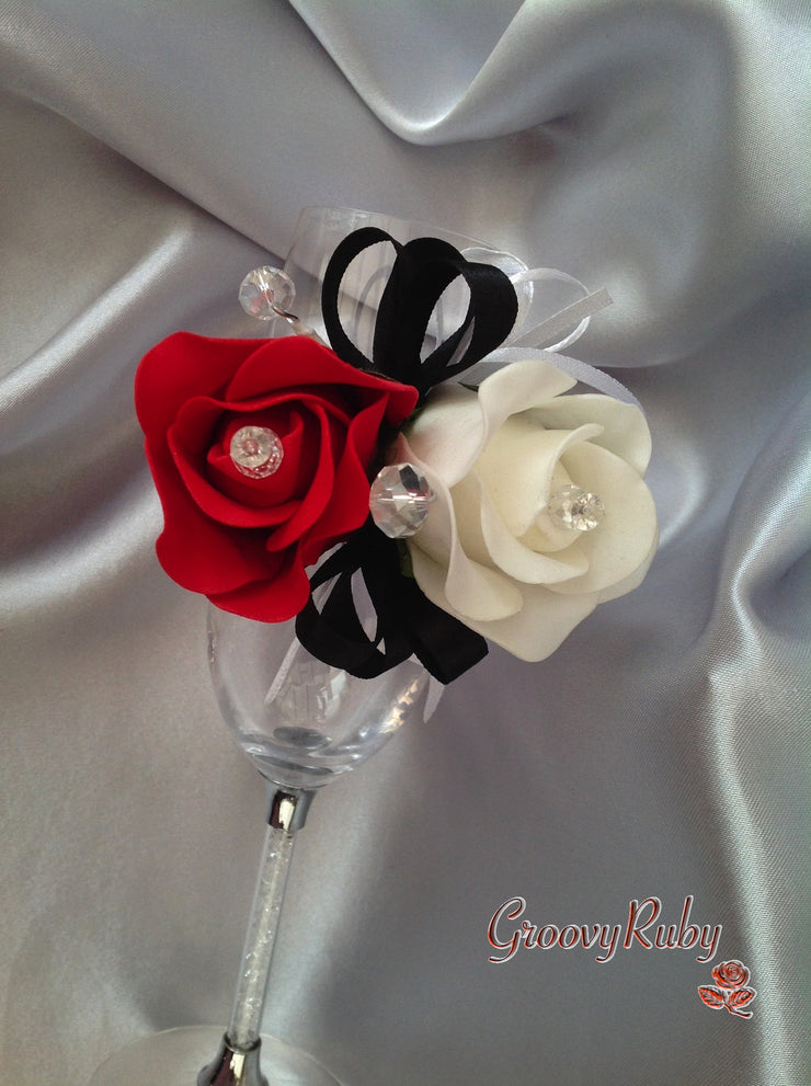 Diamante Wrist Corsage, Ivory & Red Rose With Black Ribbons