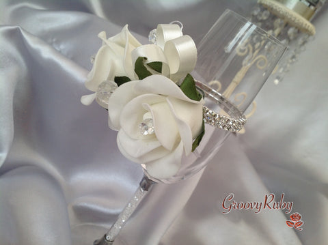 Diamante Wrist Corsage, Ivory Rose With Ivory Ribbons