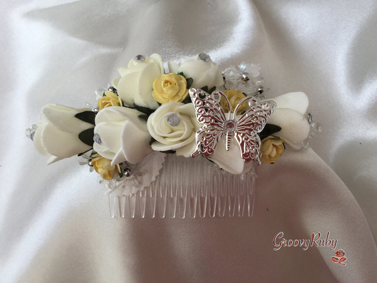 Lemon & Ivory Butterfly Hair Comb