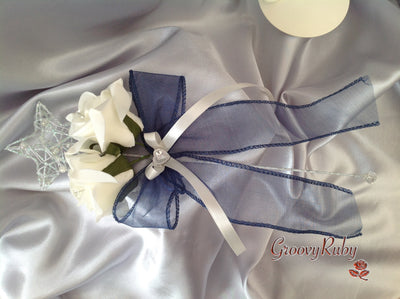 Silver Star Flower Girl Wand With Crystal Heart & Navy Organza