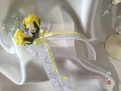 Silver Star Butterly Flower Girl Wand With Lemon Ribbons