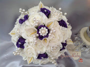 Cadbury Purple & Ivory Rose & Small Calla Lily With Pearl Brooch