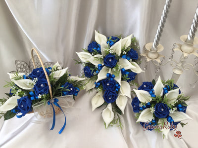 Royal Blue Ivory Rose & Large Calla Lily, Added Royal Blue Ribbon Loops