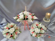 Ivory Rose & Large Calla Lily, Added Coral Ribbon Loops
