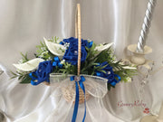 Flower Girl Basket - Royal Blue/Ivory Roses With Added Royal Blue Ribbon Loops