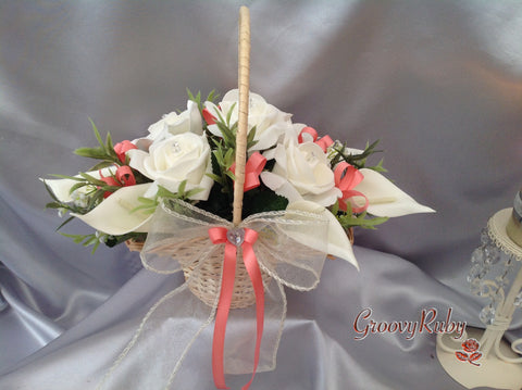 Flower Girl Basket With Added Coral Ribbon Loops