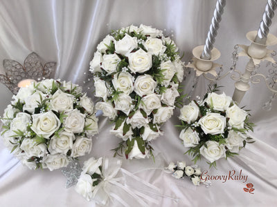 Ivory Rose With Foliage & Crystal Sprays