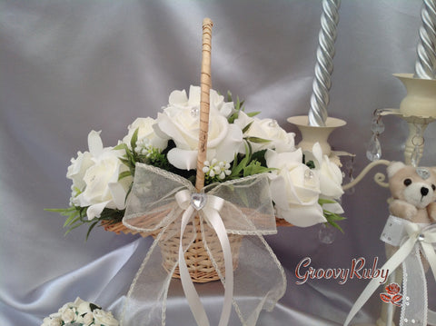 Flower Girl Basket With Ivory Roses & Foliage