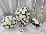 Ivory Rose With Foliage & Pearl Sprays