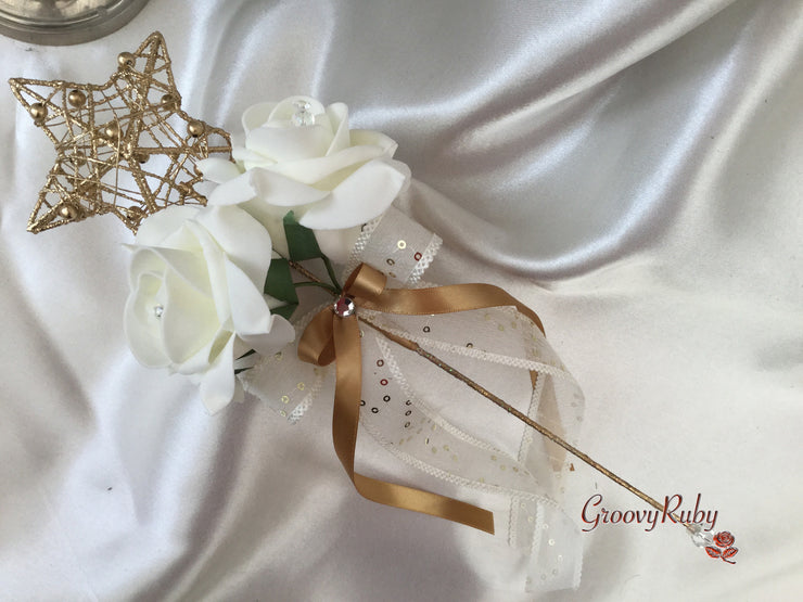 Gold Flower Girl Wand With Ivory Roses & Gold Ribbons