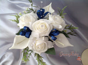 Ivory Rose & Large Calla Lily With Navy Ribbon Loops Cake Topper
