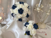 Navy Rose Glitter Ribbon With Babies Breath