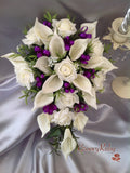 Ivory Rose & Large Calla Lily, Added Cadbury Purple Ribbon Loops