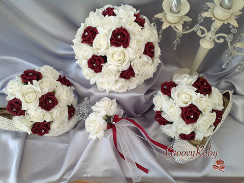 Burgundy & Ivory Rose Crystal