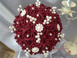 Full Burgundy Rose Pearl Crystal Brooch