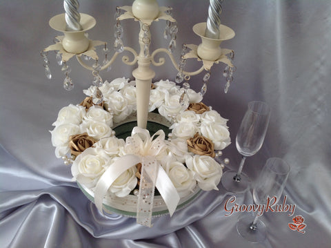 Gold & Ivory With Pearl Sprays, Candle/Candelabra Rings