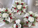 Ivory Rose & Large Calla Lily, Added Deep Red Ribbon Loops