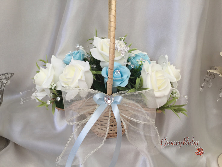 Baby Blue Flower Girl Basket