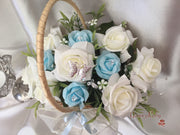 Butterfly Flower Girl Basket With Ivory/Baby Blue Roses & Foliage
