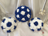 Royal Blue & White Rose Crystal