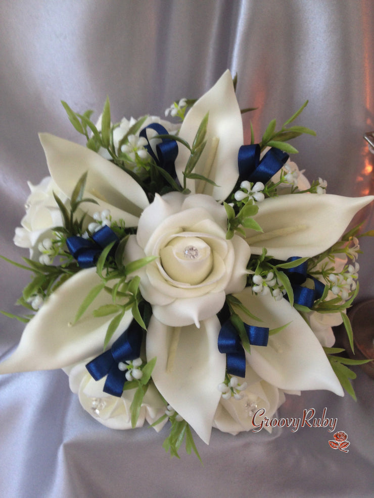 Ivory Rose & Large Calla Lily, Added Navy Ribbon Loops