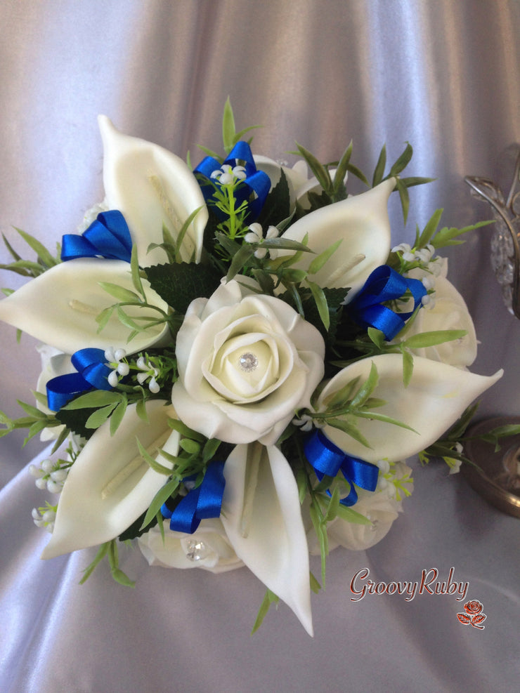 Ivory Rose & Large Calla Lily, Added Royal Blue Ribbon Loops