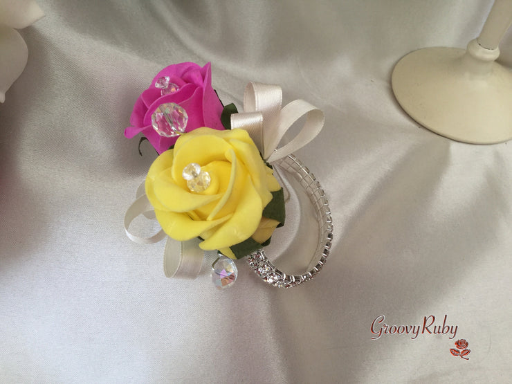 Hot Pink, Yellow & Ivory Rose Crystal