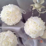 Flower Girl Pomander/Ball, Ivory Roses, Colour Of Your Choice Ribbon Handle