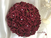 Full Burgundy Rose Crystal