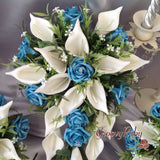 Turquoise & Large Ivory Calla Lily