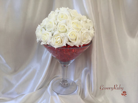 Ivory Crystal Martini Glass Flower Topper