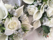 Ivory Rose & Large Calla Lily, Added Silver Ribbon Loops
