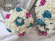 Turquoise, Hot Pink & Ivory Roses, Heart Brooch, Crystal Sprays