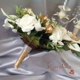 Ivory Rose & Large Calla Lily, Added Gold Ribbon Loops