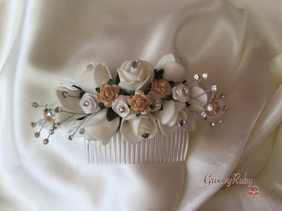 Ivory & Gold Bridal Hair Comb
