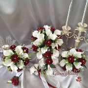 Burgundy Rose & Large White Calla Lily