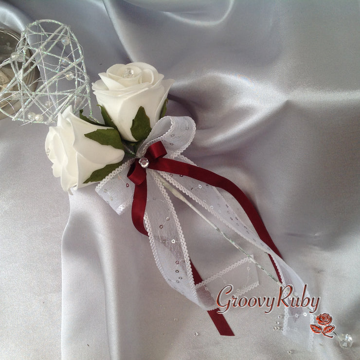 Iridescent Heart Flower Girl Wand With Burgundy Ribbons