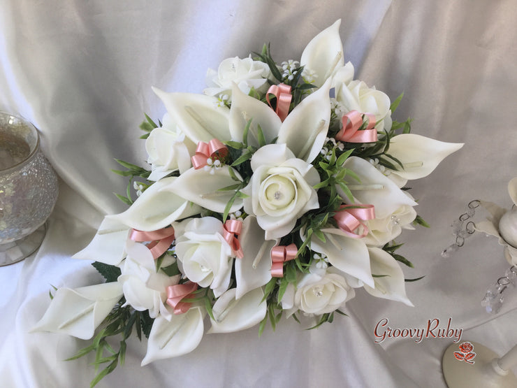 Ivory Rose & Large Calla Lily, Added Peach Ribbon Loops