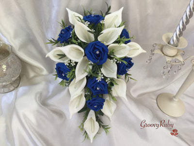 Royal Blue Rose & Large Ivory Calla Lily
