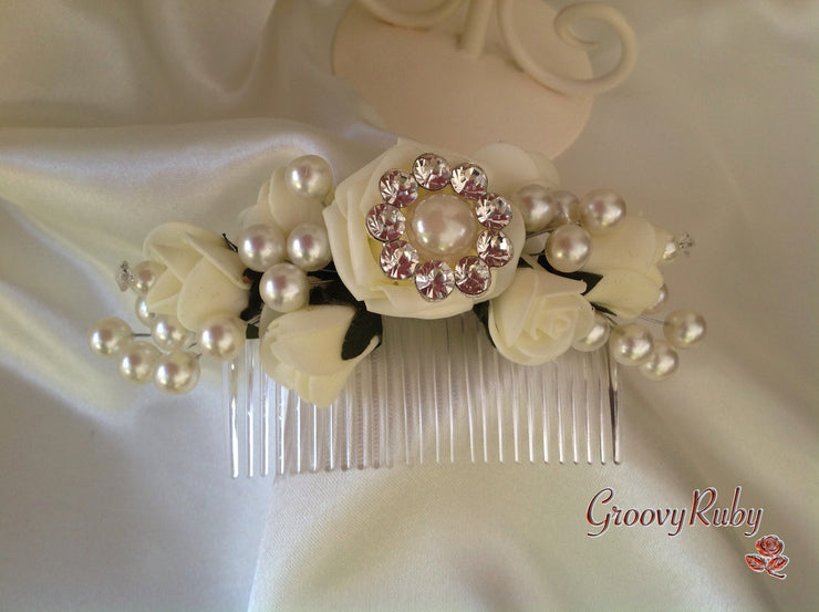 Ivory Bridal Hair Comb With Pearl Sprays & Crystal Brooch