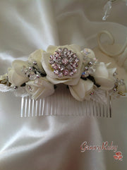 Ivory Rose Crystal Wedding Bridal Hair Comb Brooch