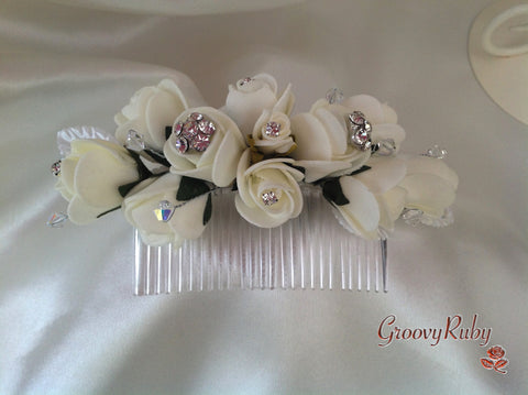 Ivory Rose Crystal Wedding Bridal Hair Comb Diamante Flowers