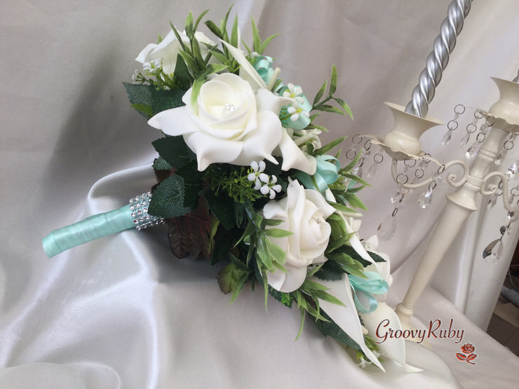 Ivory Rose & Large Calla Lily, Added Mint Ribbon Loops