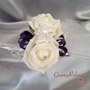 Butterfly, Cadbury Purple Ribbons, Diamante Wrist Corsage