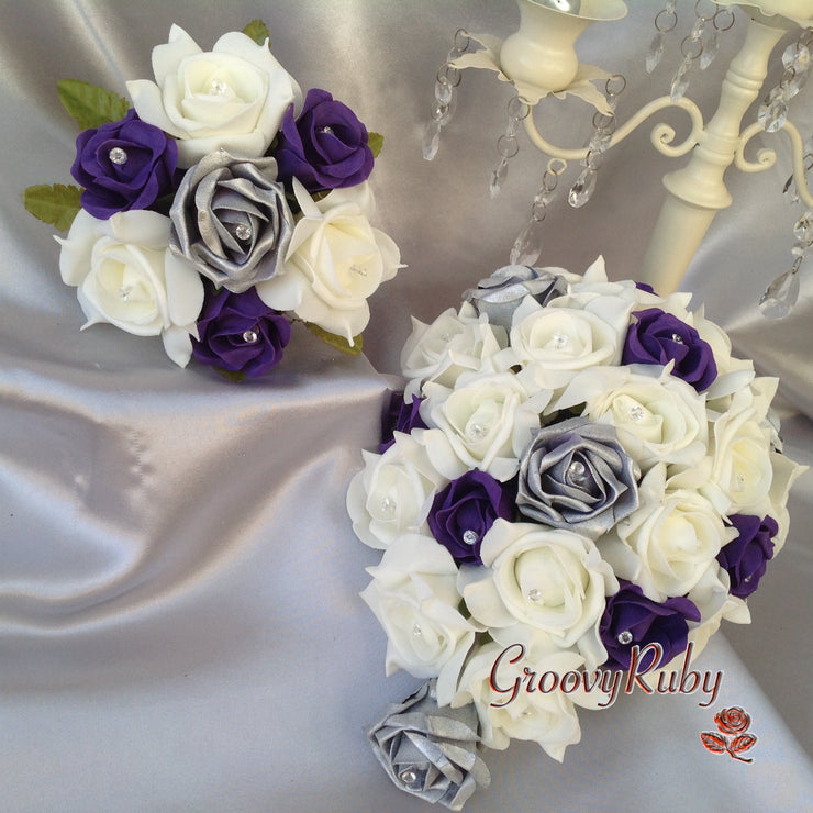 Cadbury Purple, Silver & Ivory Rose Crystal