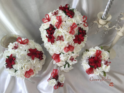 Ivory Rose Red Glitter Poinsettia