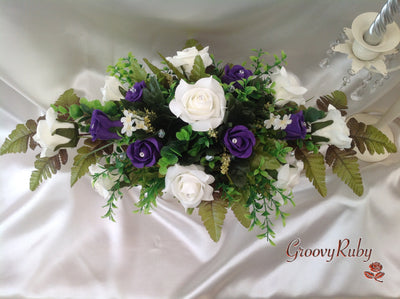 Cadbury Purple & Ivory Rose Table Centrepiece